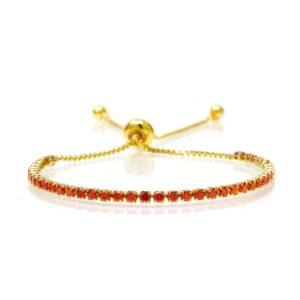 Bracelet acier dore coulissant rouge-2