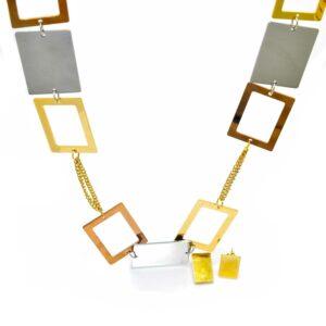 Collier et boucles d oreilles motif rectangle 3 couleurs60CM-3-min