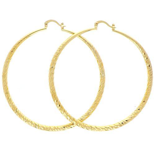 Boucles D'oreilles Plaqué Or Diamante Dégradé 4mm 65mm