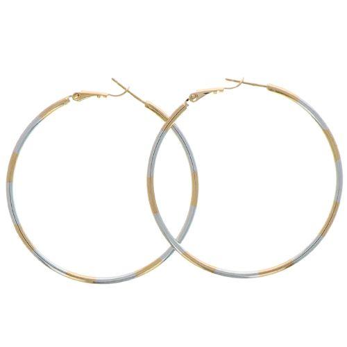Boucles d'oreilles Plaqué Or Créole Lisse Bicolore 2mm 50mm