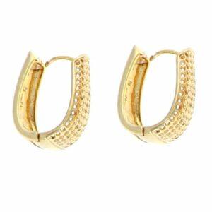 Boucles d'oreilles Plaqué Or Créole Ovale Ajourée H25mm 2