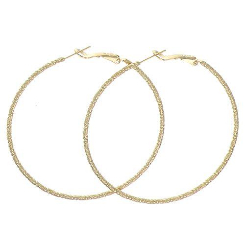 Boucles d'oreilles Plaqué Or Creoles Diamant 60mm