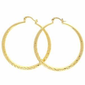 Boucles d'oreilles Plaqué Or Créoles Diamante Degrade 4 mm 45mm