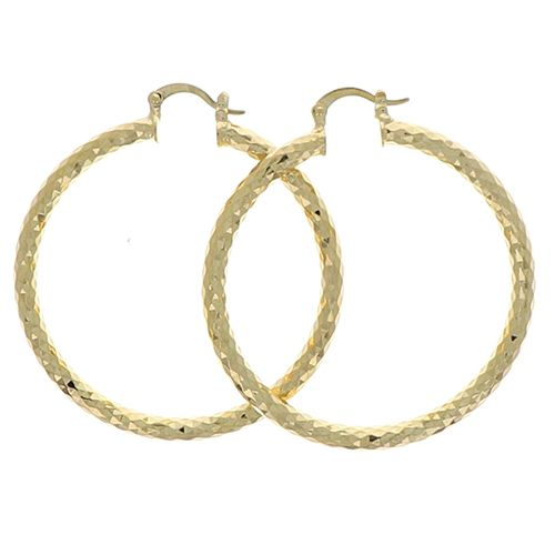 Boucles d'oreilles Plaqué Or Créoles Fant 45mm