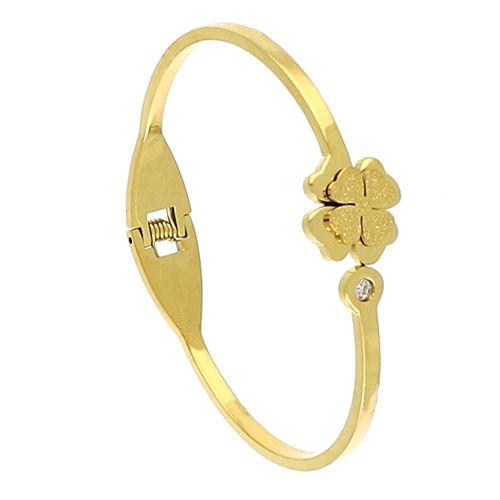 Bracelet Acier doré Jonc Trefle Oz