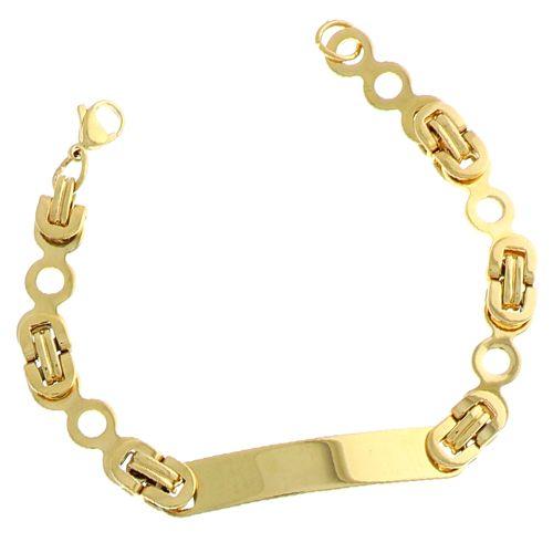 Bracelet identité acier doré 22cm 2