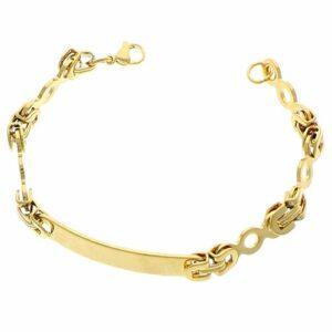 Bracelet identité acier doré 23cm 2