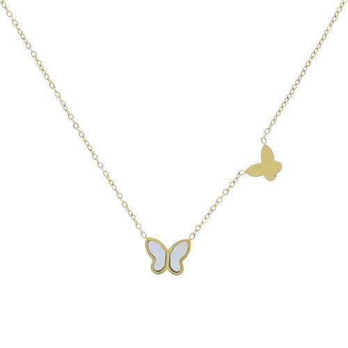 Collier Acier dore papillons nacre 45cm