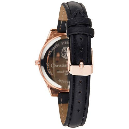 Montre Acier doré Christian Lacroix Rose Bracelet Cuir Noir CXLS18044 RGN 2