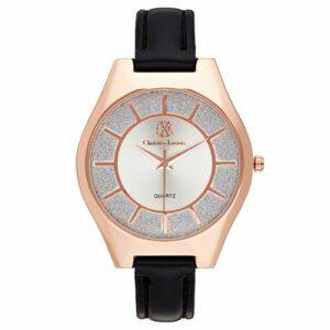 Montre Acier doré Christian Lacroix Rose Bracelet Cuir Noir CXLS18044 RGN