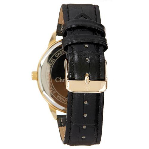 Montre Homme Acier Dorée Christian Lacroix Bracelet Cuir Noir Fond Noir CXLS18002-G 2