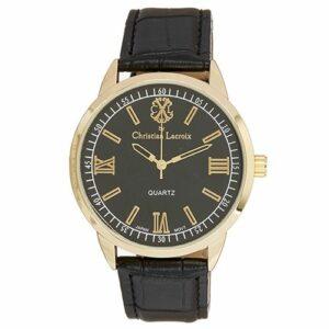 Montre Homme Acier Dorée Christian Lacroix Bracelet Cuir Noir Fond Noir CXLS18002-G
