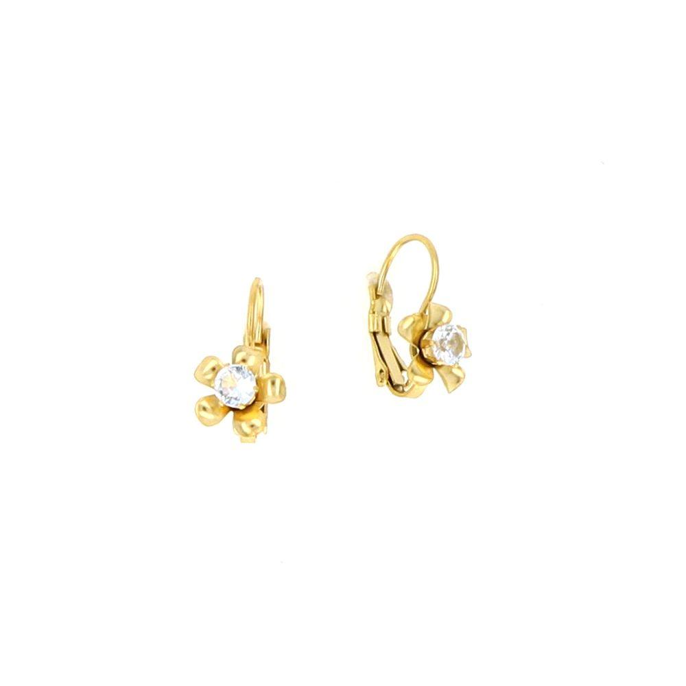 Boucles d'oreilles Acier doré Fleur Oxyde Central 16mm 2