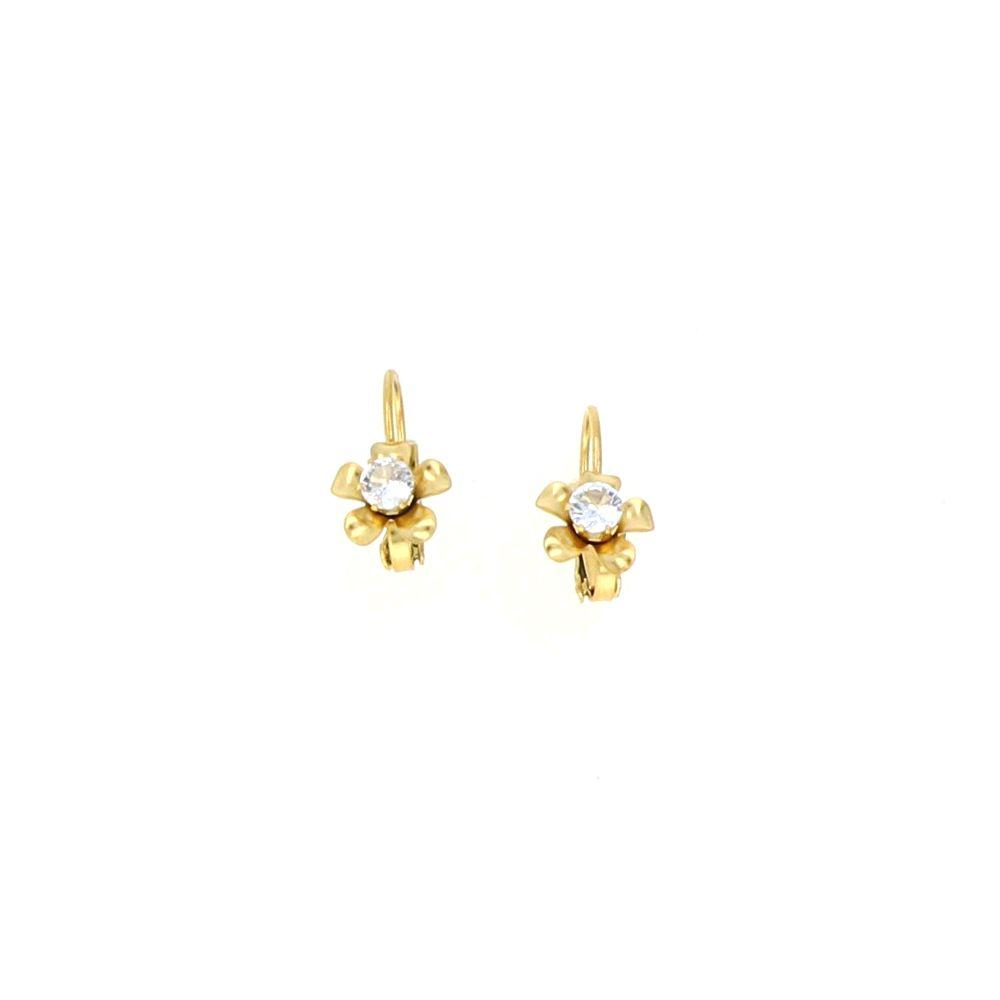 Boucles d'oreilles Acier doré Fleur Oxyde Central 16mm