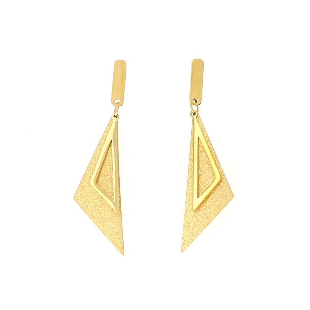 Boucles d'oreilles acier doré Triangle satine