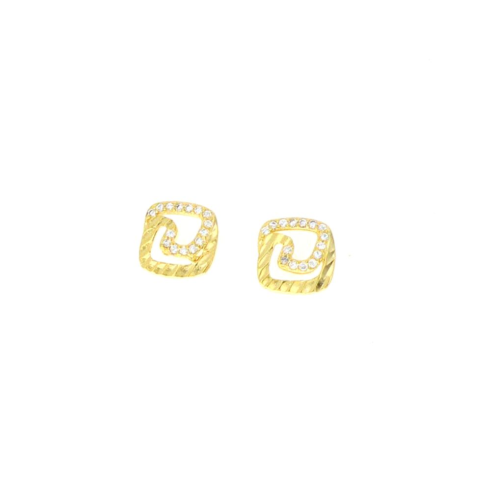 Boucles d'oreilles acier doré clou tourbillon zircon copie