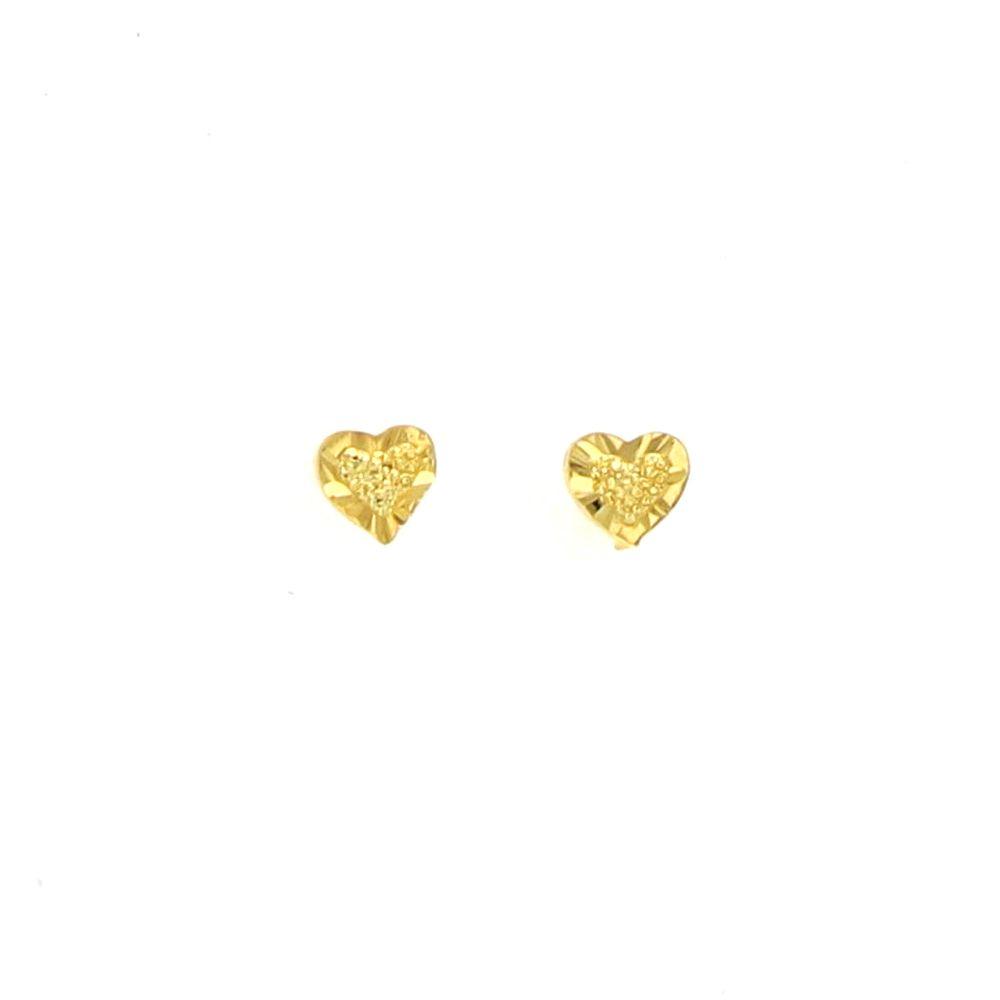 Boucles d'oreilles acier doré coeur 2