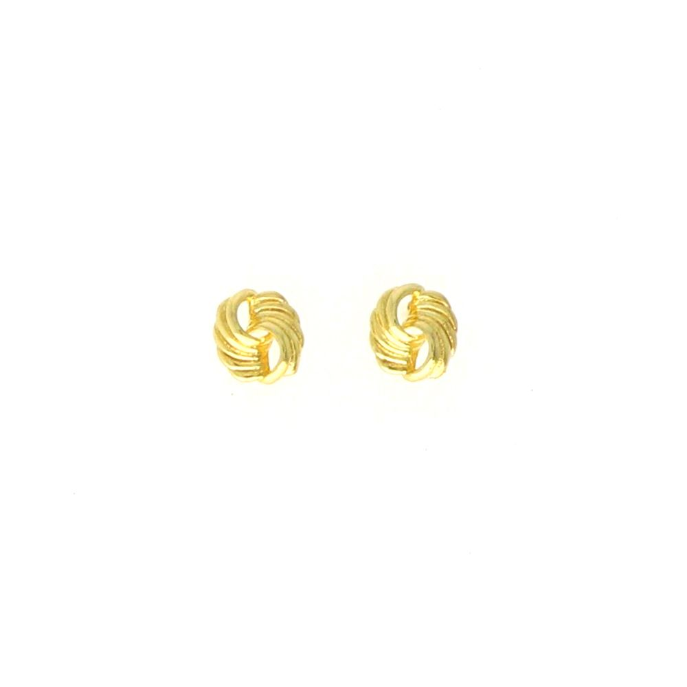 Boucles d'oreilles acier doré entrelacée 10mm
