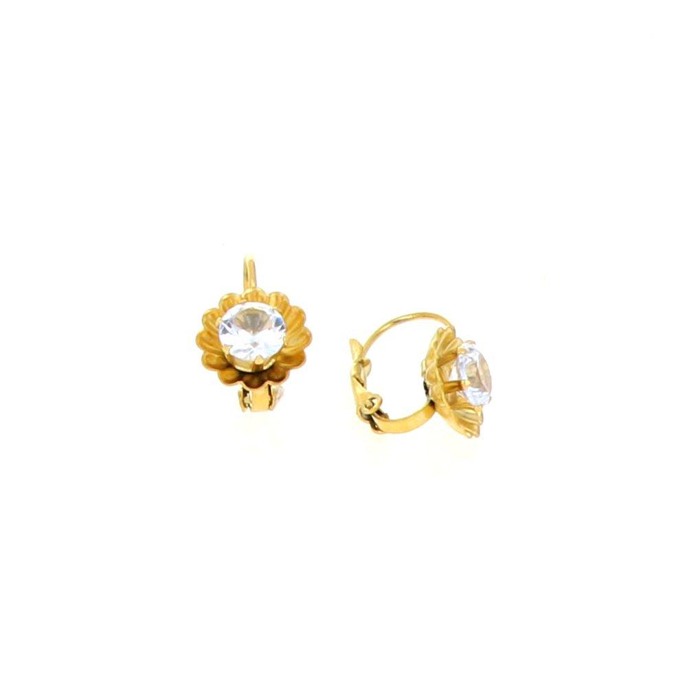 Boucles d'oreilles acier doré fleur Oz central 2