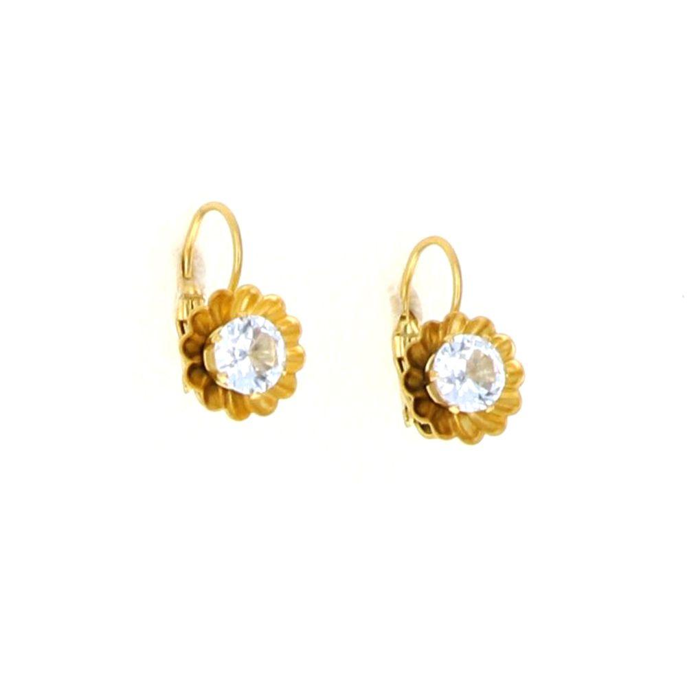 Boucles d'oreilles acier doré fleur Oz central