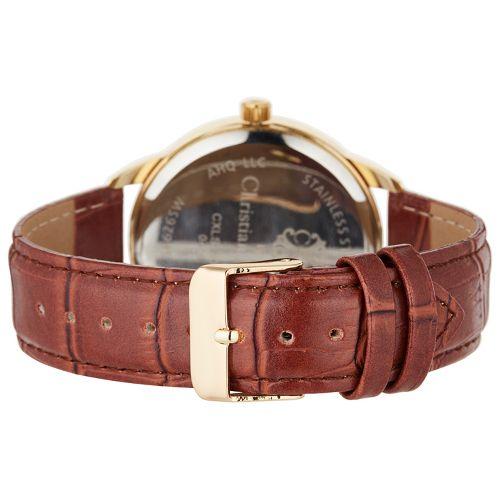 Montre Homme Acier Dorée Christian Lacroix Bracelet Cuir rouge Fond Noir CXLS18002 2