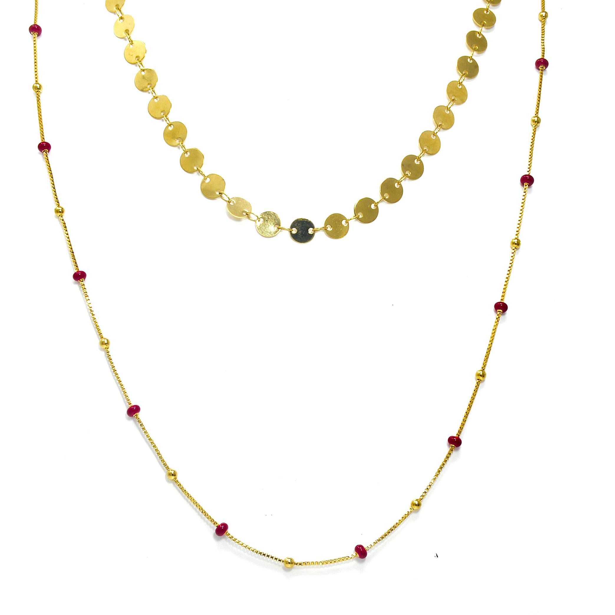 Collier double acier dore perles differente couleurs 45 ET 60CM ROUGE