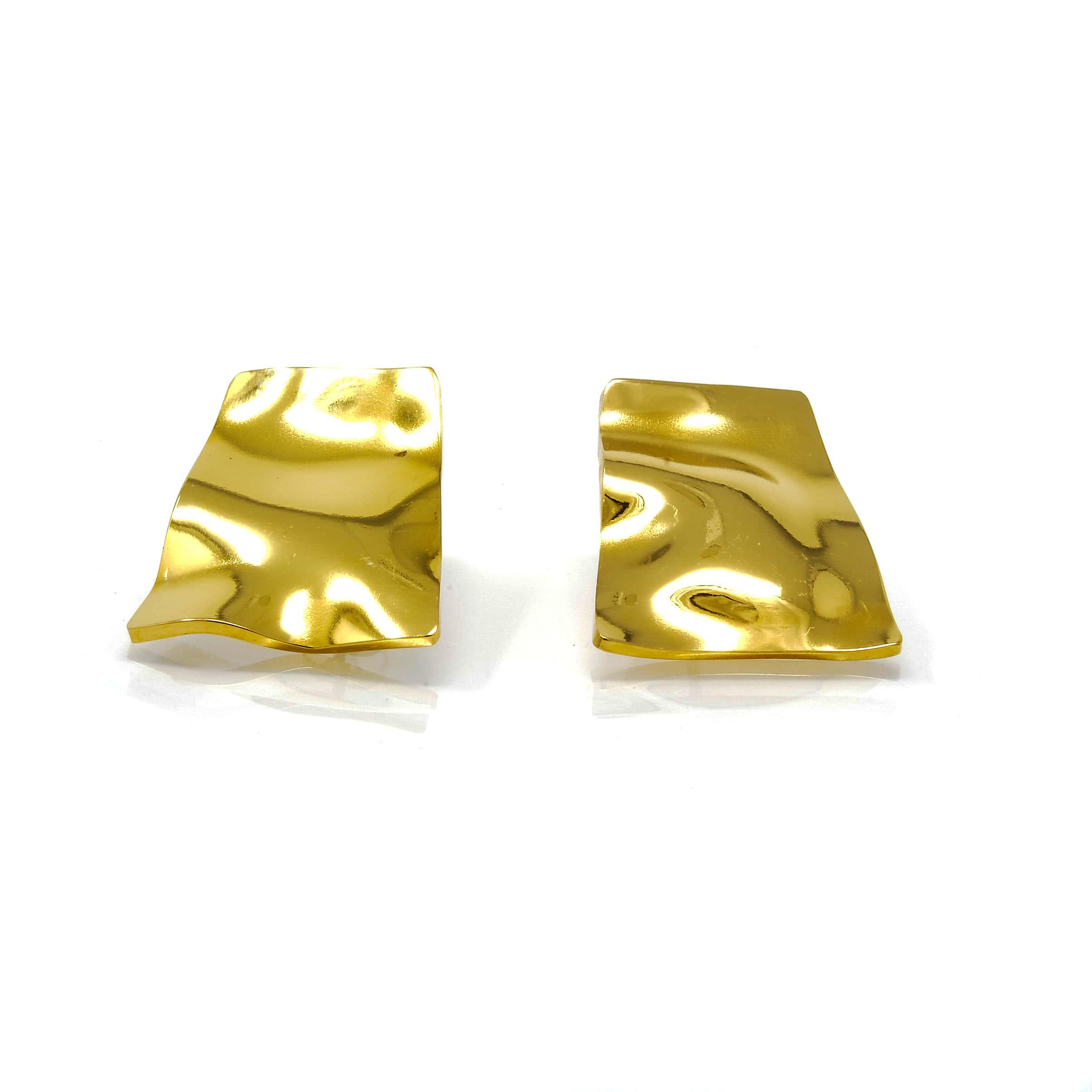 Boucles d oreilles acier doré pavé rectanglemartelée-min