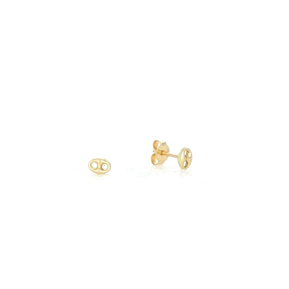 Boucles d'oreilles 18k Boucles grain de café 4x5.3mm 1