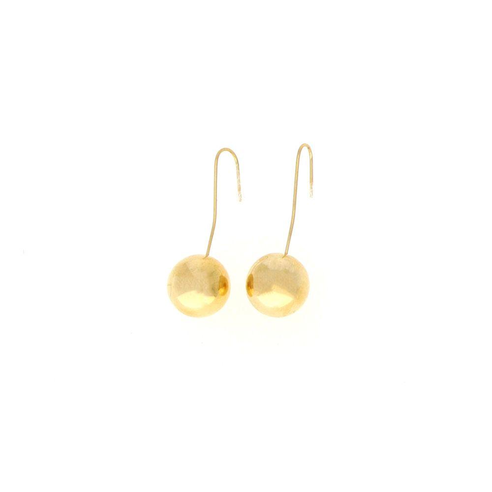 Boucles d'oreilles Acier doré crochet boule 14mm
