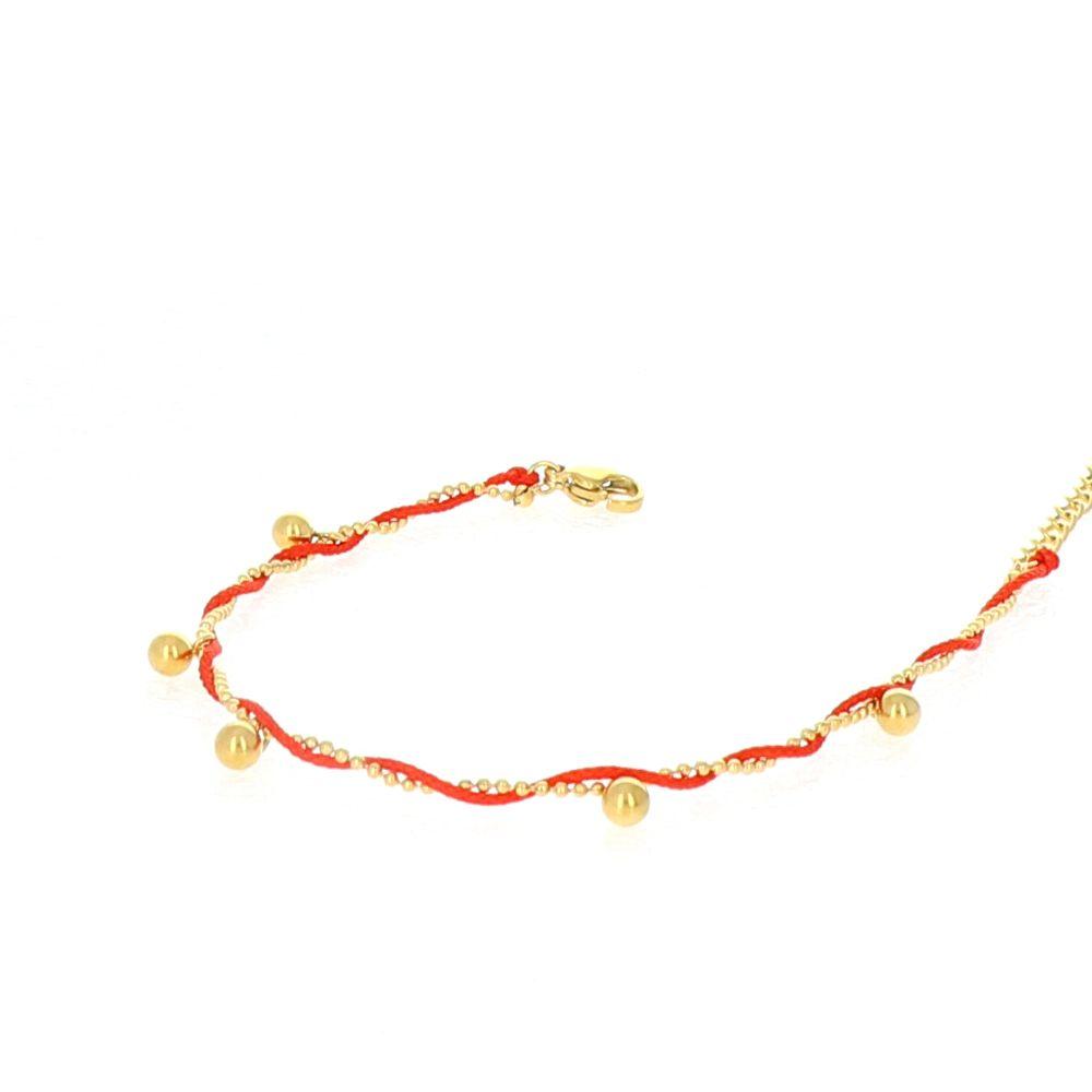 Bracelet fil rouge breloque boules 2