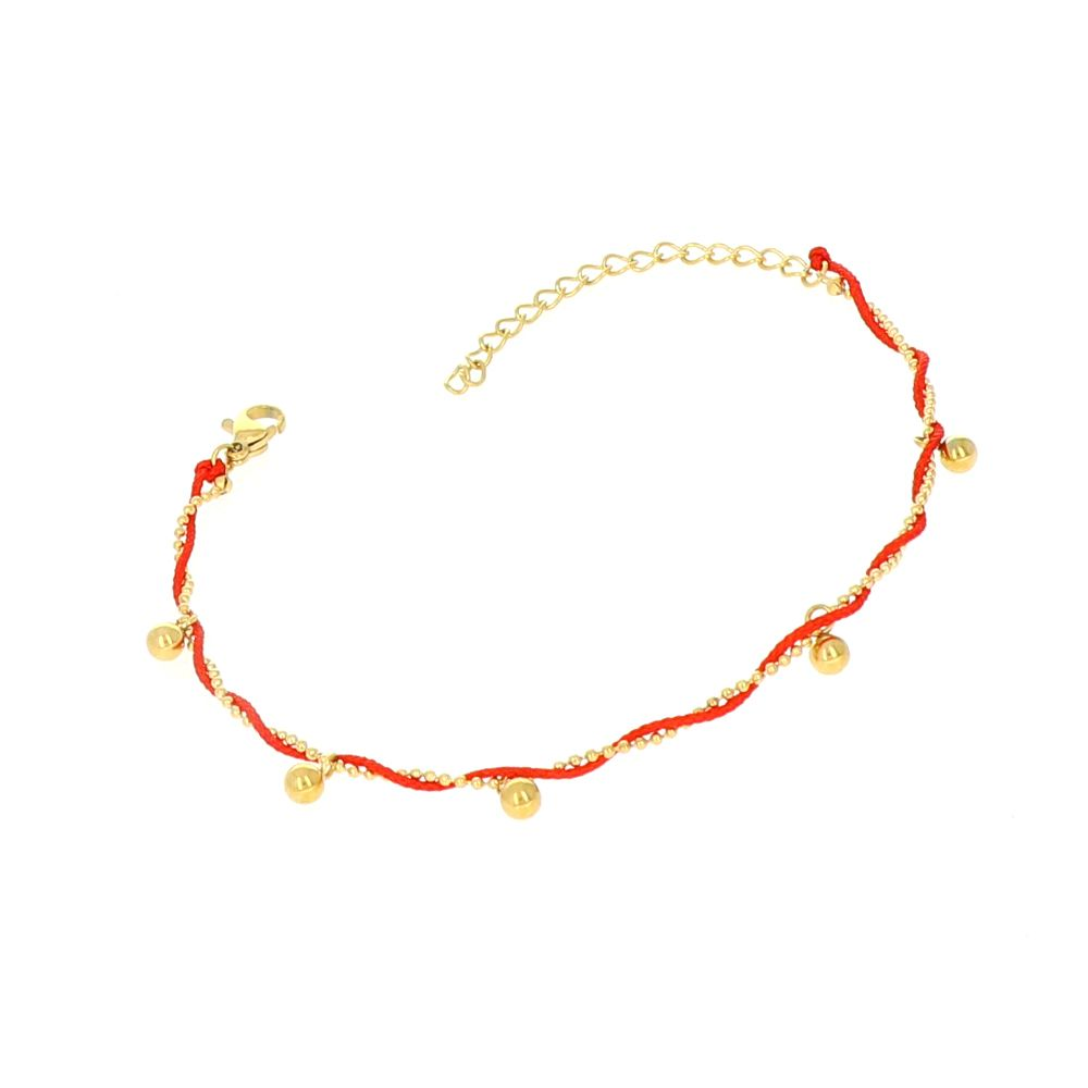 Bracelet fil rouge breloque boules