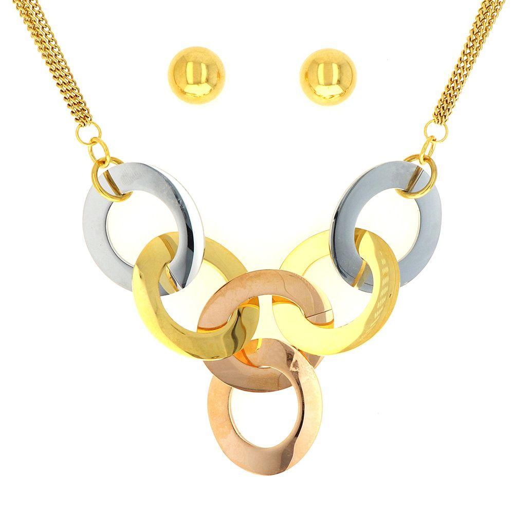 Parure acier doré collier +boucles d'oreilles