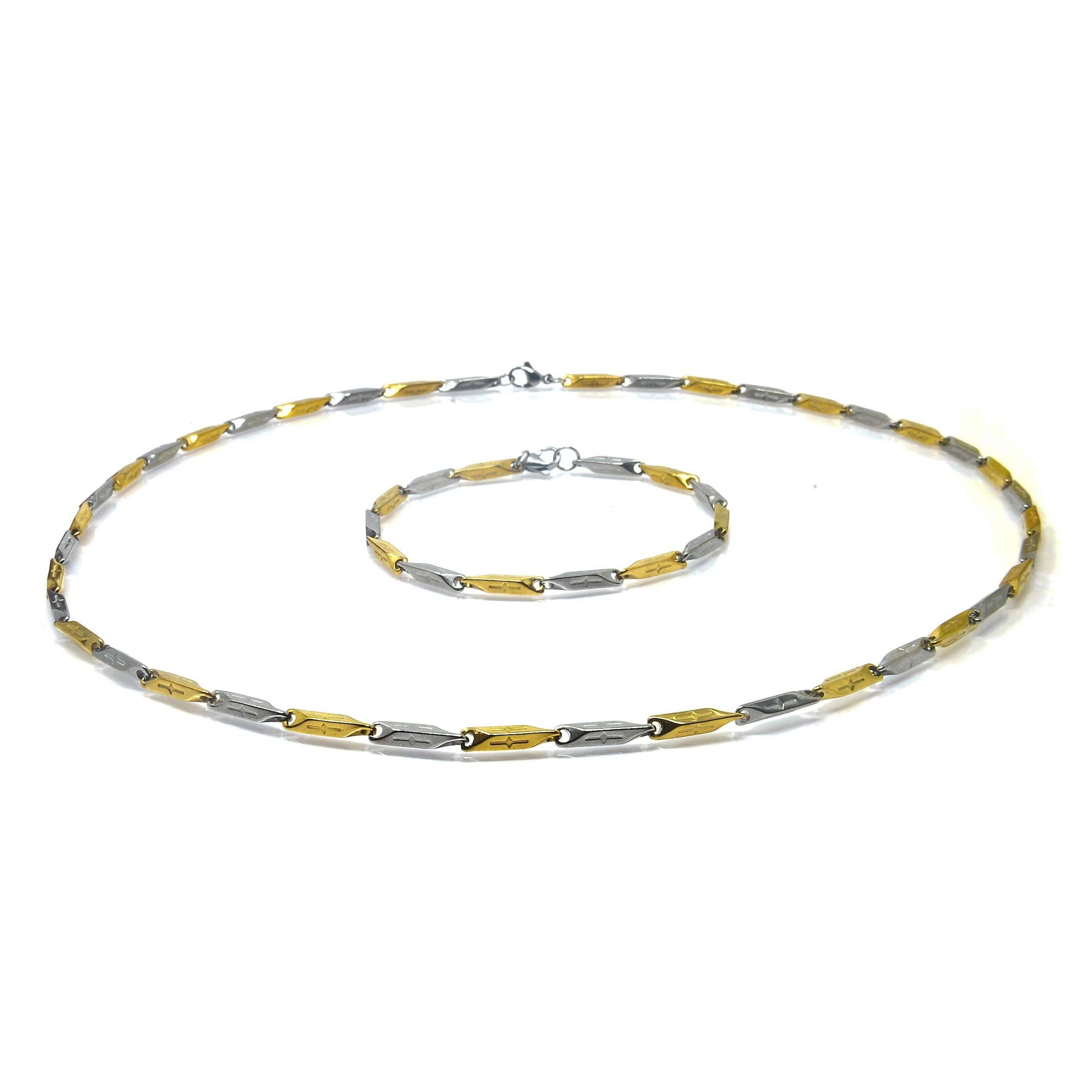 Parure collier et bracelet bicolore 60 ET 22CM-4-min