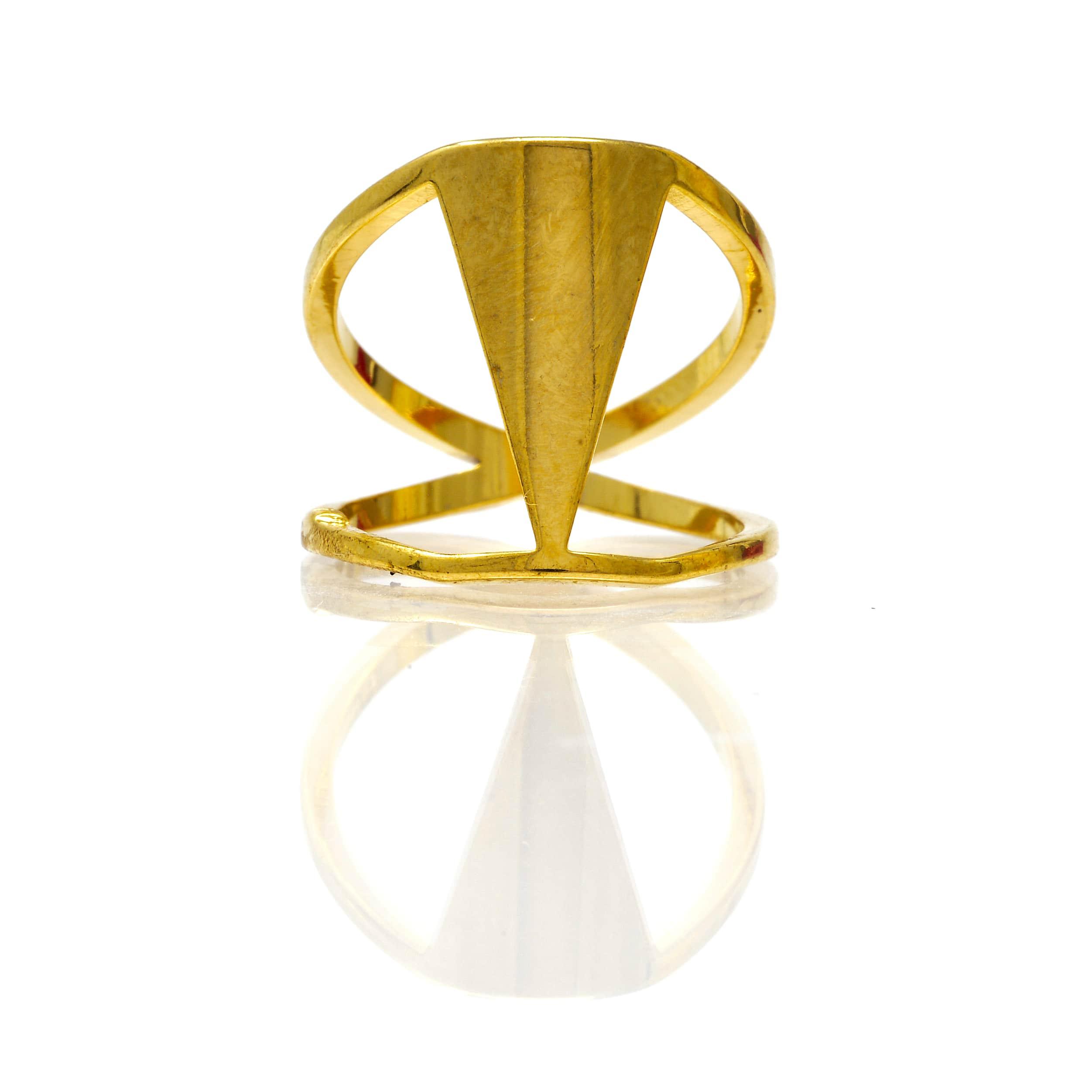Bague acier doré2 anneaux triangle-7-min