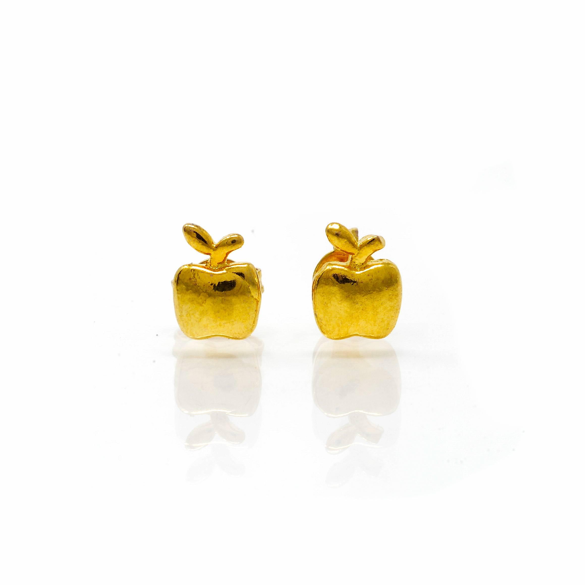 Boucles d oreilles acier doré pomme_-3