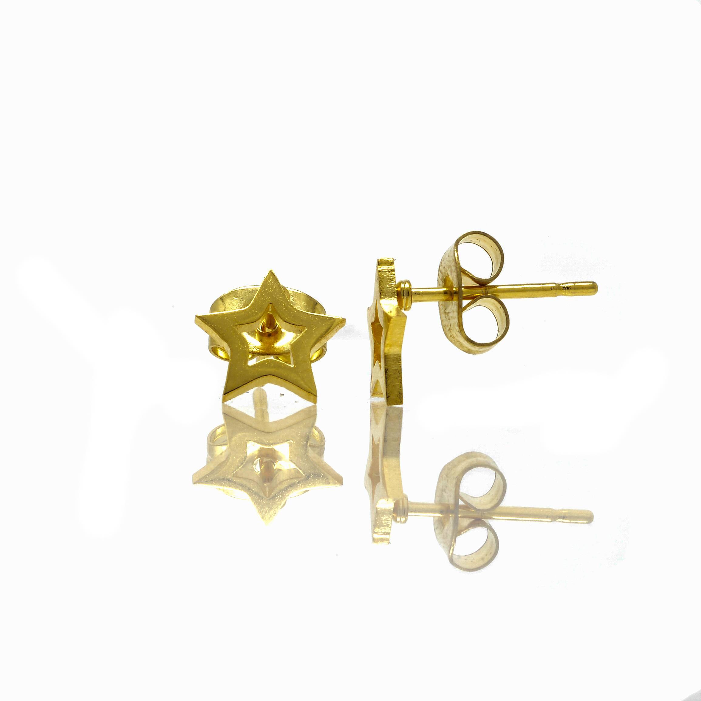 Boucles d oreilles puce etoile acier doré-2
