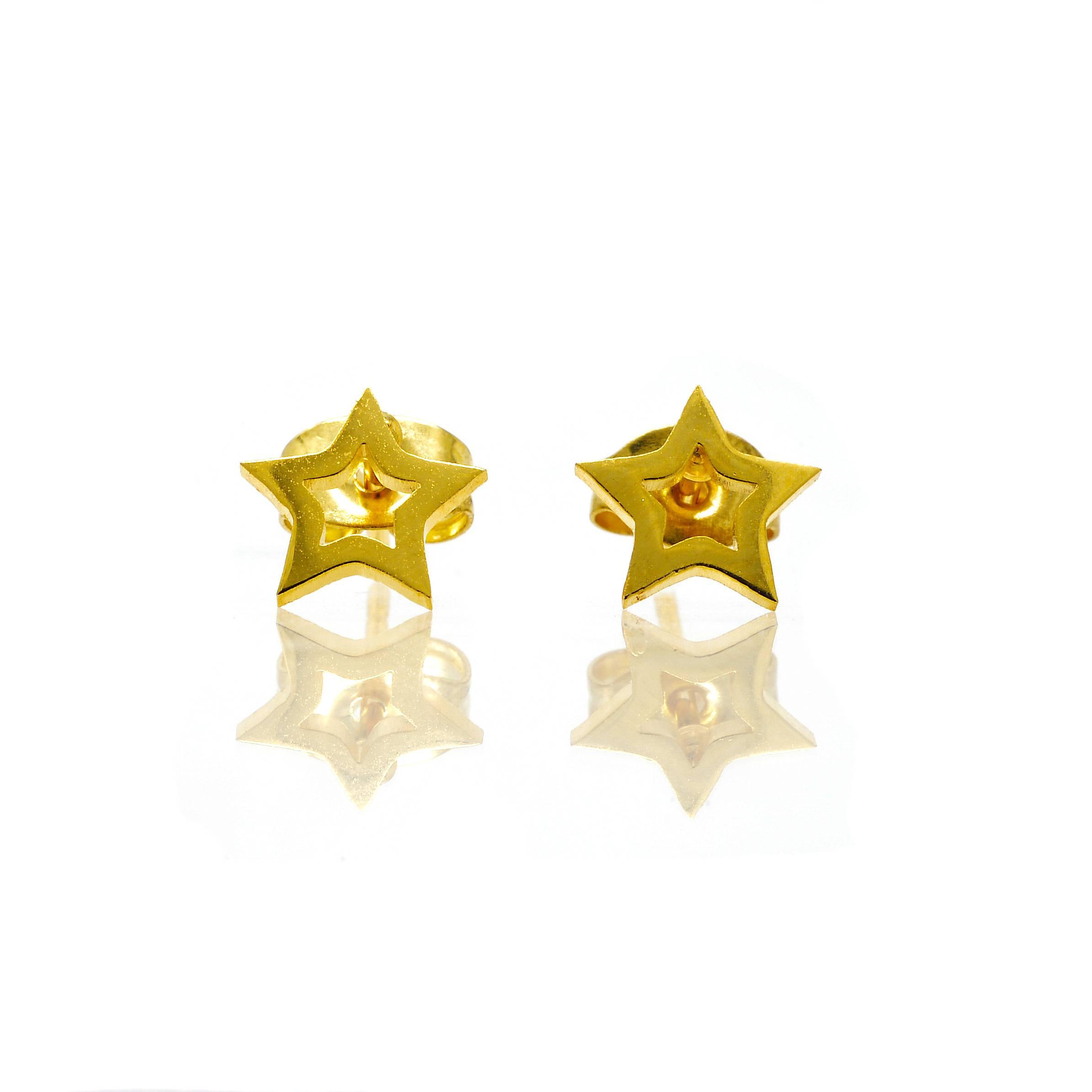 Boucles d oreilles puce etoile acier doré-3