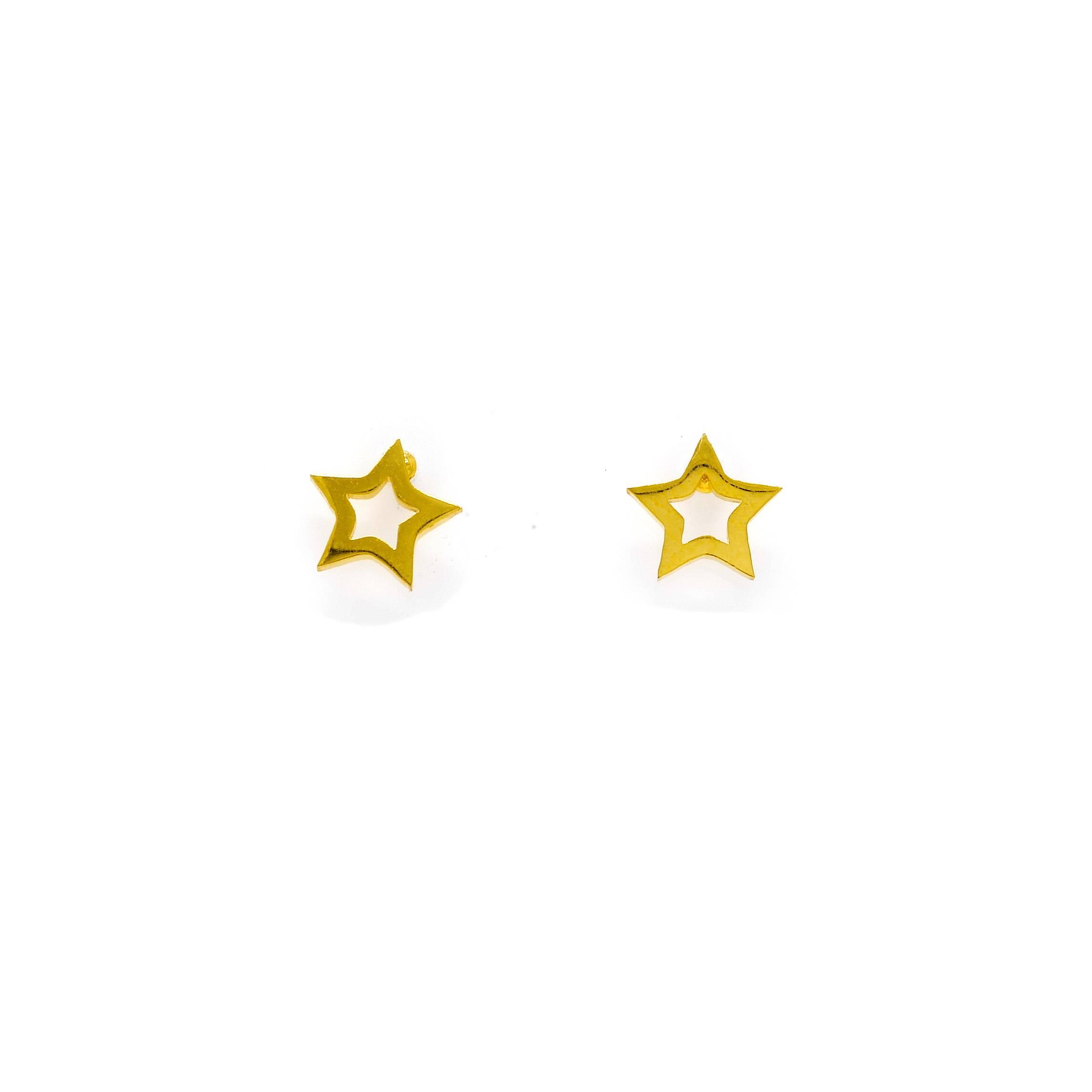 Boucles d oreilles puce etoile acier doré