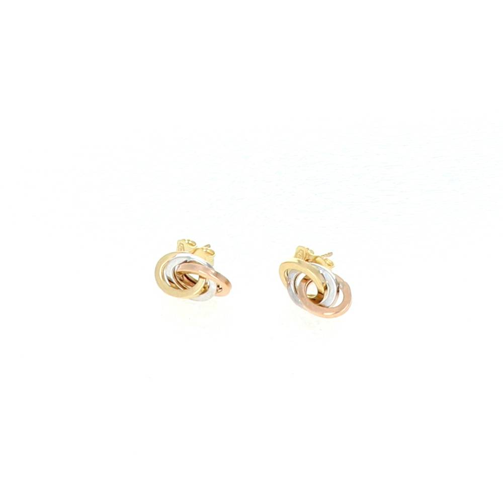 Boucles d'oreilles Or 18 Carats 3 Ovales 3 couleurs 1
