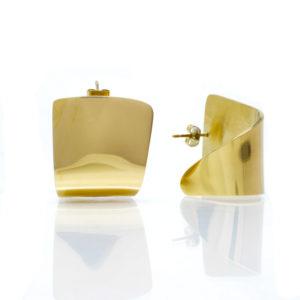 Boucles doreilles pavé brillant acier doré-2