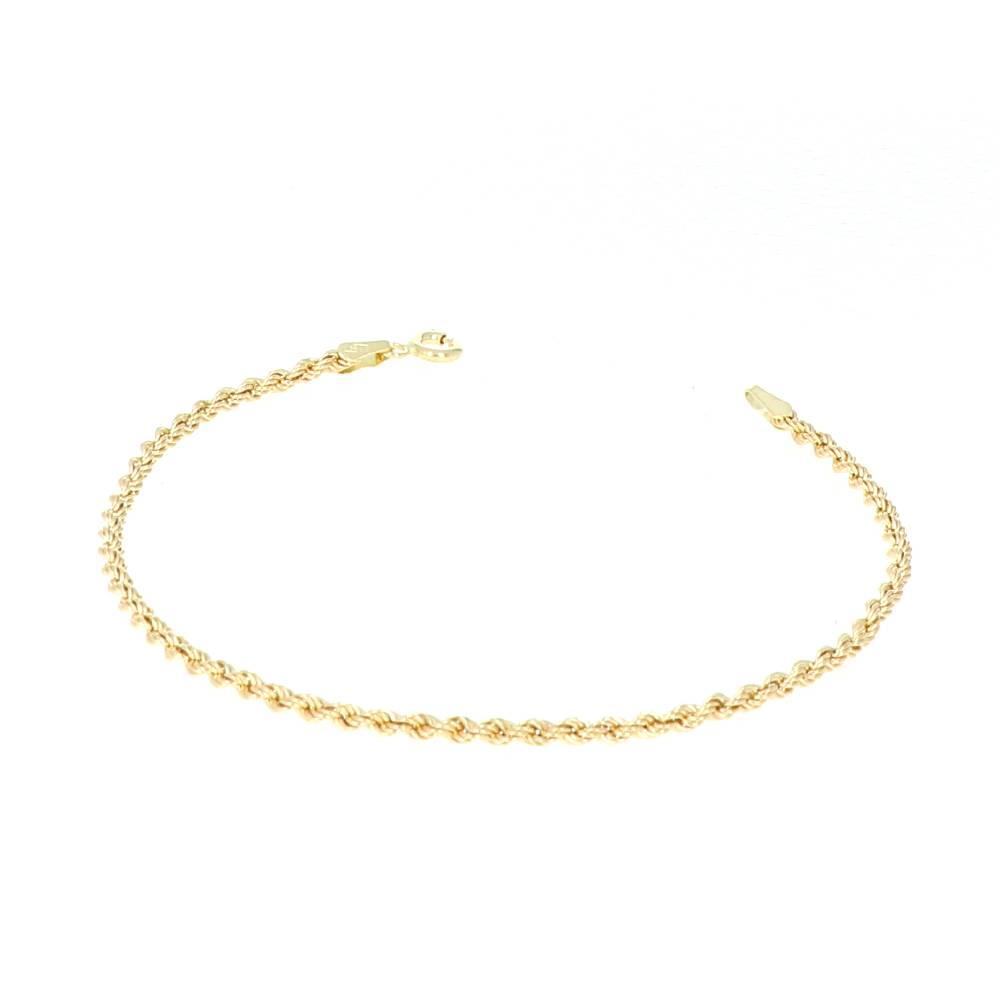 Bracelet Corde Or 18 Carats 2mm 18cm