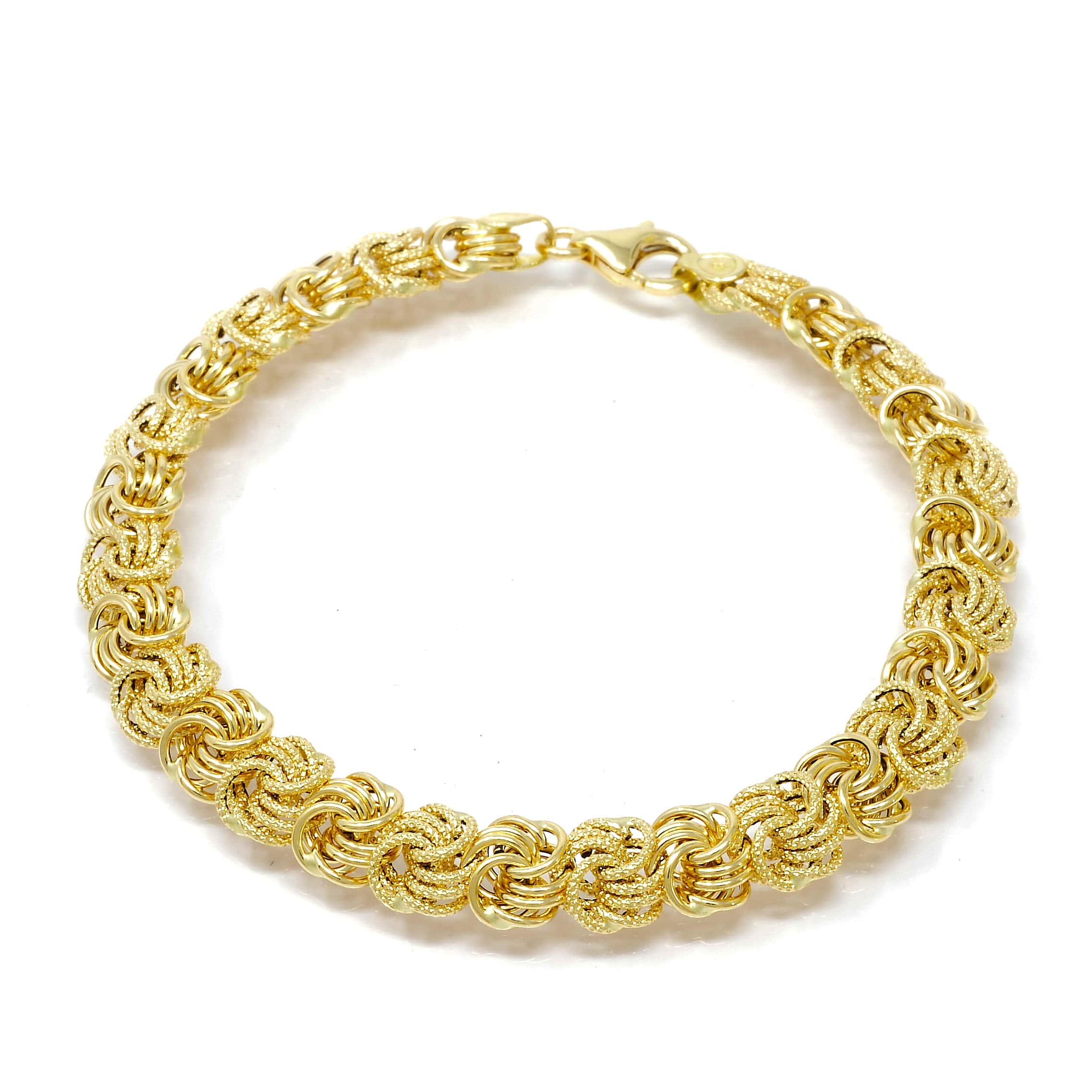 Bracelet rosette or 18 CARATS lisse-sable-2-min