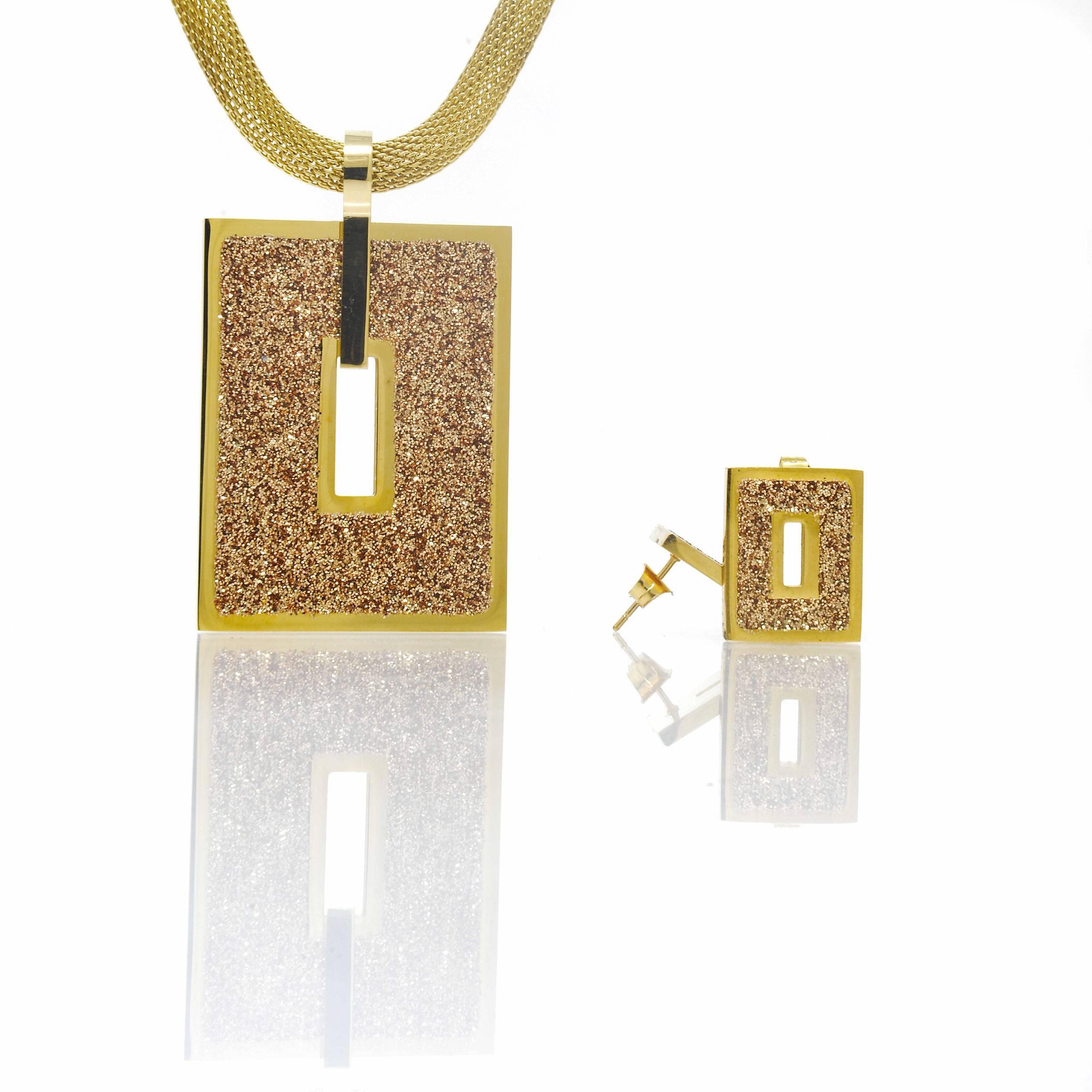 Collier et boucles doreilles motifs rectangle Brown-4