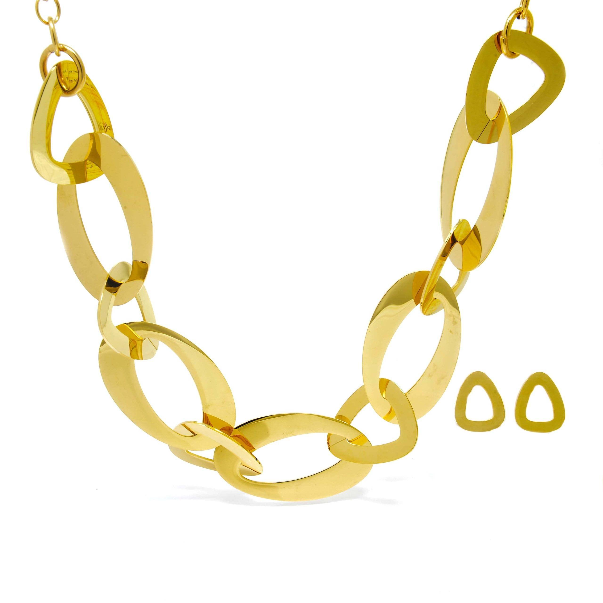 Parure collier et boucle d oreilles mailles ovale acier doré-3-min