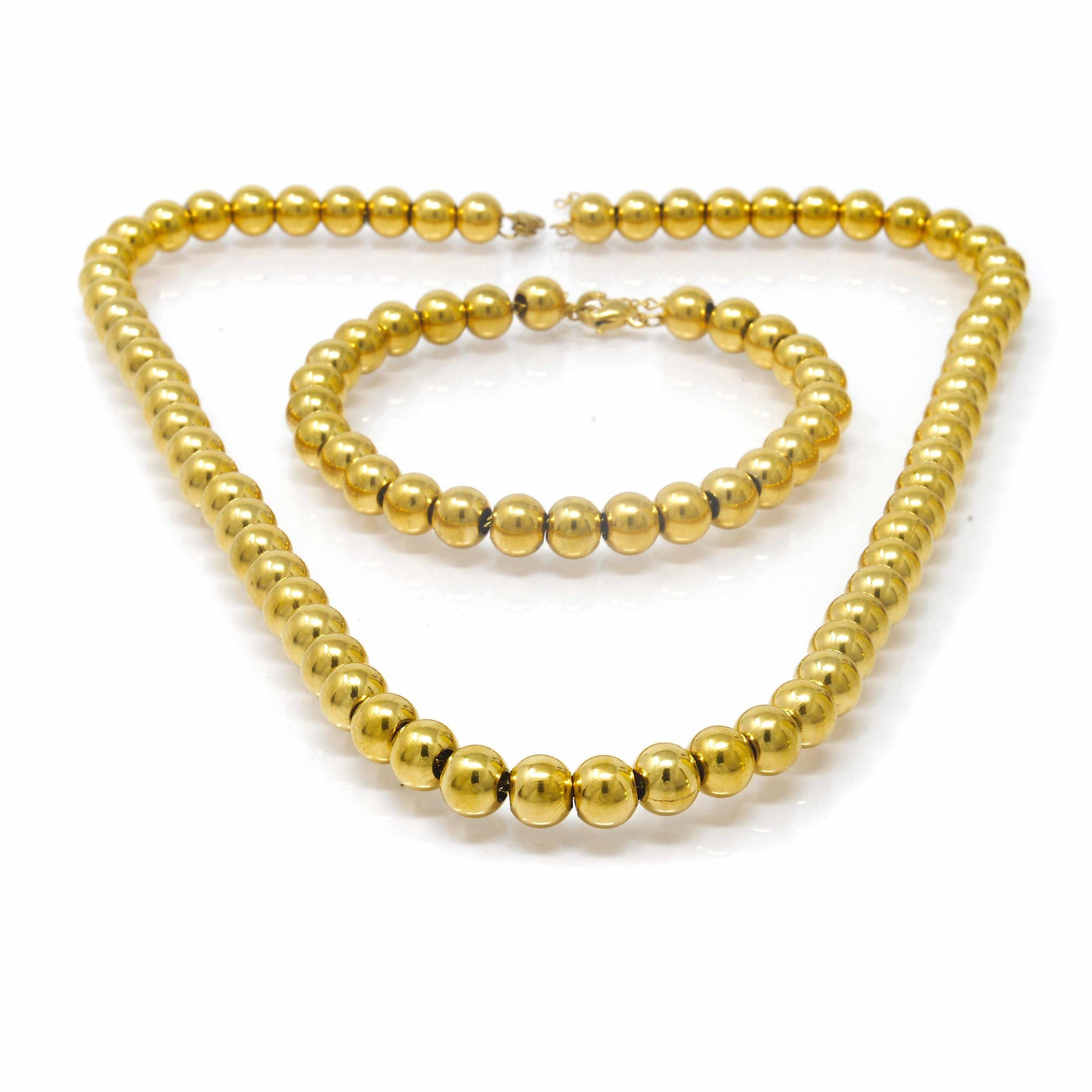 Parure collier et bracelet acier doré boules 8MM 65CM 23CM ET 48CM-4-min