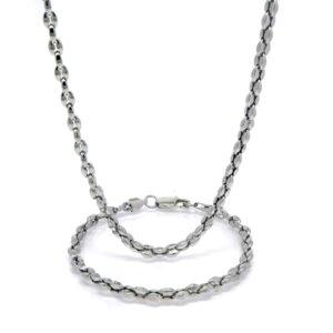 Parure collier et bracelet cafe 5MM acier 83 CM-3-min
