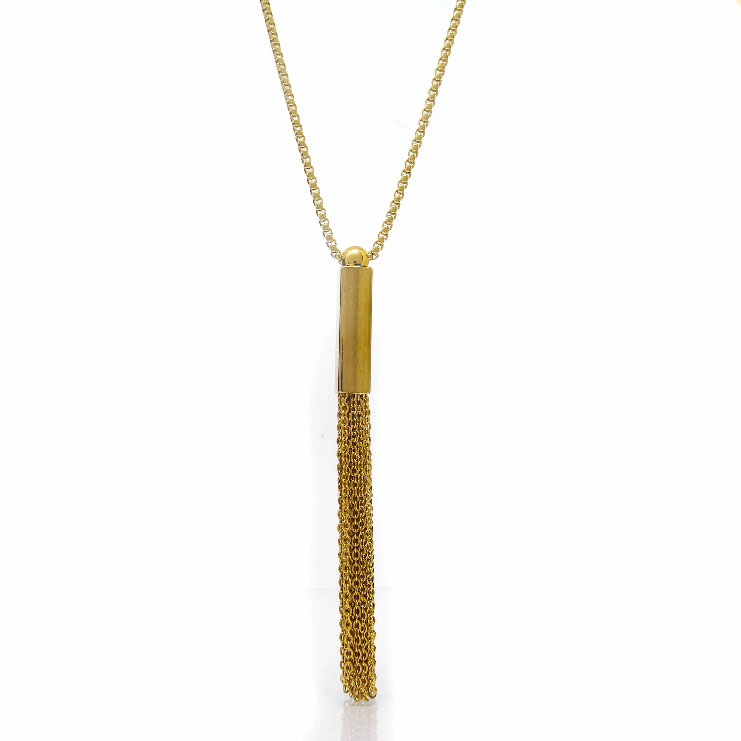 Sautoir acier doré motif rectangle pampilles 70 CM-3-min