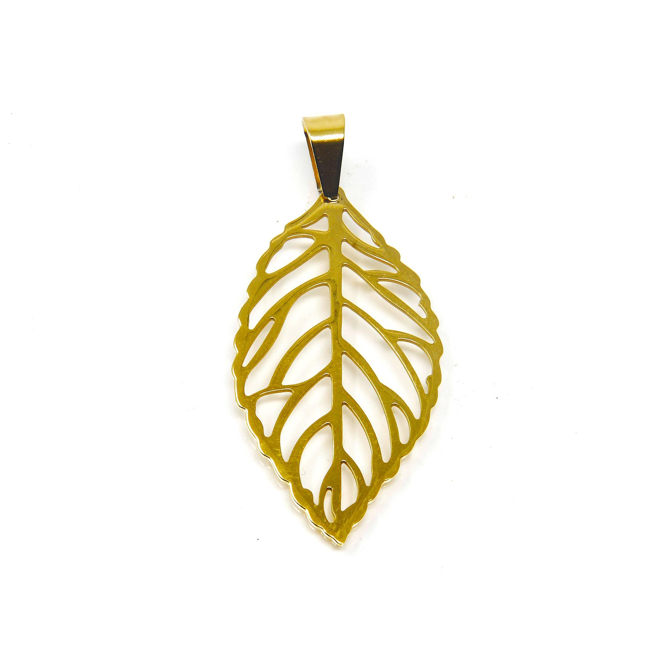 pendentif feuille acier doré