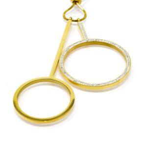 Sautoir pendants cercles strass acier doré-min