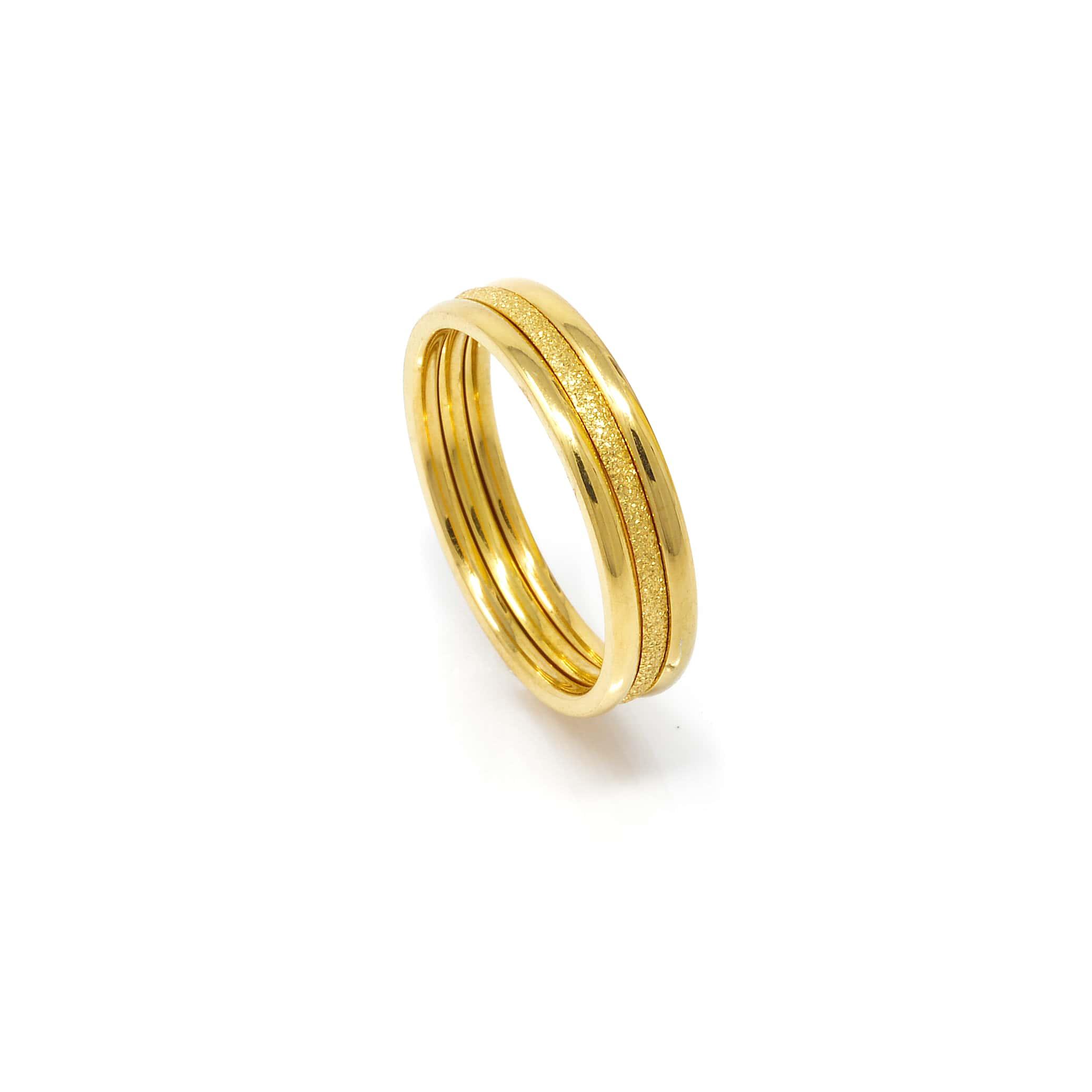 Alliance 3 anneaux lisse satinée acier doré-9-min